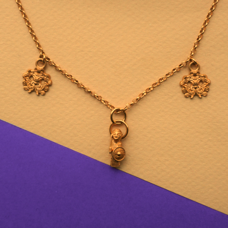 Triple charms and chain necklace