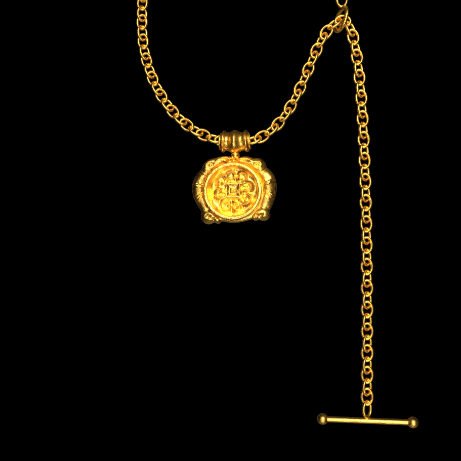 Gold plated Ravens and Midgard pendant with lariat chain